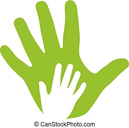 icône, mains, adulte, famille, gosse