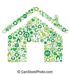 icône, maison, vert