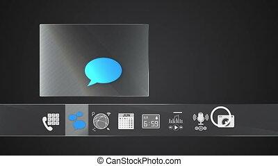 icône, message, application, mobile