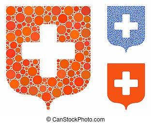 icône, monde médical, cercles, mosaïque, bouclier