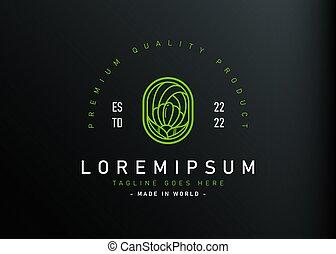 icône, monoline, moderne, style., fleur, illustration, nature, logo, gabarit, conception, feuilles, ligne, vecteur, résumé, vendange, design., simple