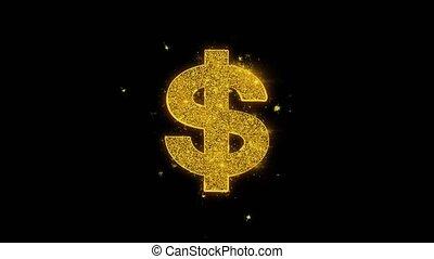 icône, noir, dollar, arrière-plan., particules, étincelles