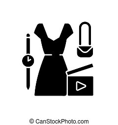 icône, noir, mode, glyph, vidéo