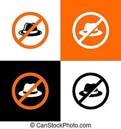 icône, non, chapeau, vecteur, signe, casquette, -, interdit