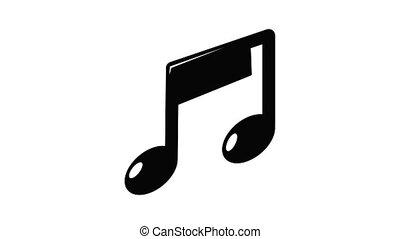 icône, note, musique, animation