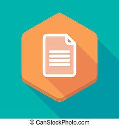 icône, ombre, document, long, hexagone