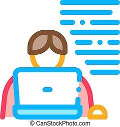 icône, ordinateur portable, vecteur, écrivain, illustration, contour