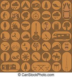 icône, outdoors., randonnée, ensemble, camping