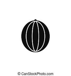 icône, pastèque, style, silhouette