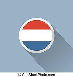 icône, pays-bas, bouton, drapeau