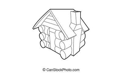 icône, petit, hutte, animation