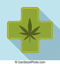 icône, plat, monde médical, style, marijuana