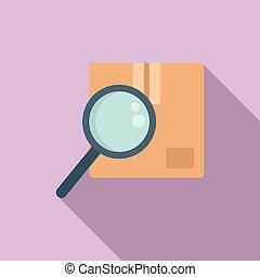 icône, plat, recherche, paquet, style