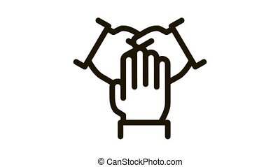 icône, poignée main, animation, triple