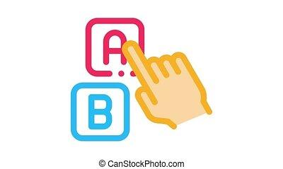 icône, pointage, lettre, animation