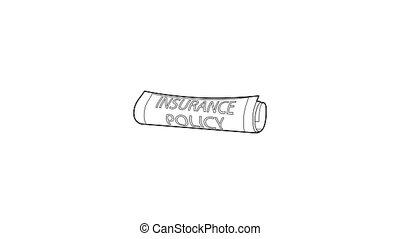 icône, politique, assurance, animation