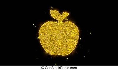 icône, pomme, arrière-plan., noir, étincelles, particules