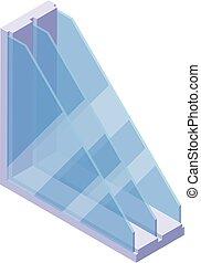 icône, profil, fenêtre, style, isométrique
