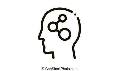 icône, programmed, cerveau, animation