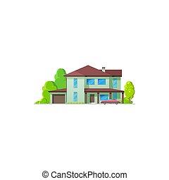 icône, propriété, petite maison, chambre maison, vrai, bungalow