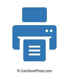 icône, publier, bleu, imprimante, dehors, impression, document, fichiers, impression