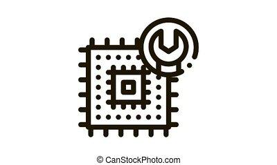 icône, puce, animation, réparation
