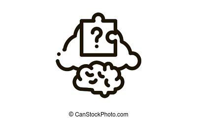 icône, puzzle, cerveau, animation