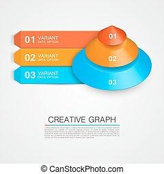 icône, pyramide, graph., business, créatif