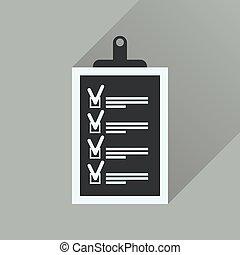 icône, questionnaire, long, business, ombre, plat