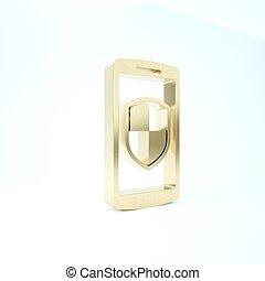 icône, render, arrière-plan., sécurité, téléphone, smartphone, 3d, bouclier, illustration, mobile, or, isolé, blanc