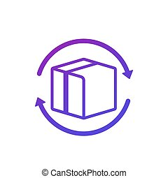 icône, retour, boîte, paquet, blanc