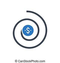 icône, retour, investissement, vecteur, glyph