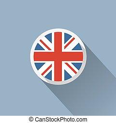 icône, royaume-uni, bouton, drapeau