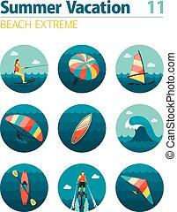 icône, set., vacances, sport eau, summer., extrême