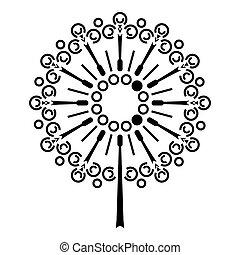 icône, simple, style, fleur, pissenlit