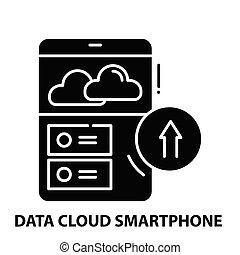 icône, smartphone, illustration, signe, données, noir, coups, nuage, concept, vecteur, editable
