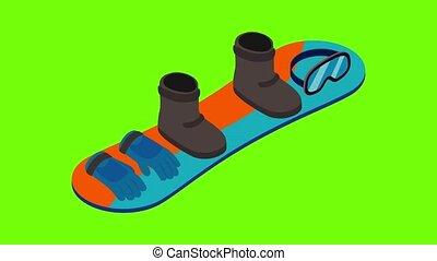 icône, snowboard, équipement, animation
