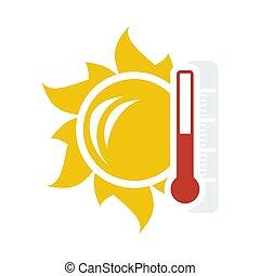 icône, soleil, thermomètre, température, élevé