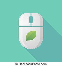 icône souris, ombre, sans fil, long, feuille verte