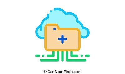 icône, stockage, animation, nuage