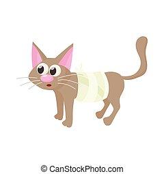 icône, style, blessure, dessin animé, chat