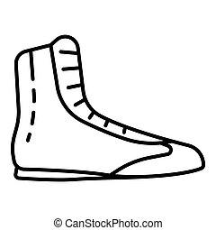 icône, style, boxe, chaussure, contour
