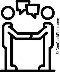 icône, style, contour, personnel, communication, traits