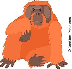 icône, style, dessin animé, orang-outan