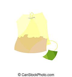 icône, style, dessin animé, teabag