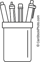 icône, style, ensemble, stylos, contour