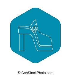 icône, style, femmes, contour, chaussure