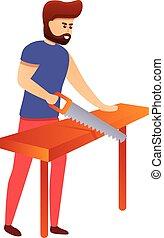 icône, style, moderne, dessin animé, charpentier