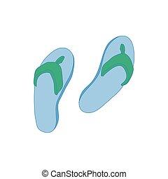 icône, style, plage, chaussures, dessin animé