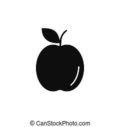 icône, style, silhouette, pomme